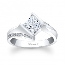 Barkev's Designer Princess Cut Diamond Engagement Ring in 14KT White Gold with 0.13 ct in side Diamonds 7840LW