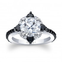Black Diamond Halo Engagement Ring