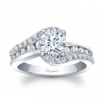 Barkev's Designer Round Cut Diamond Engagement Ring in 14KT White Gold with 0.72 ct in Round White Diamonds 8017LW