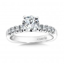 Caro74 Designer 14K White Gold Round Diamond Engagement Ring CR180W