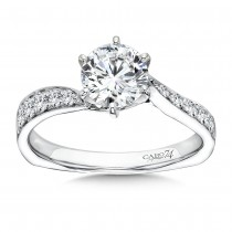 Caro74 Designer 14K White Gold Diamond Engagement Ring CR199W