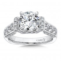 Caro74 Round Cut Designer 14K White Gold Diamond Engagement Ring Setting CR226W