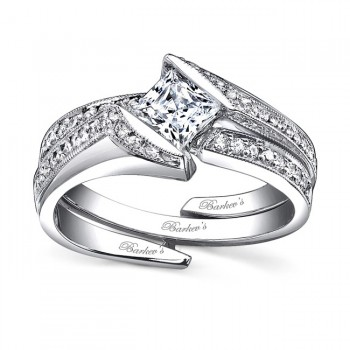 White gold diamond engagement ring set - 7498SW