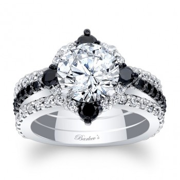 Barkev's Designer Halo Diamond Bridal 3 piece set ring in 14KT White Gold with 1.94 ct in White and Black Diamonds 7967S2BKW