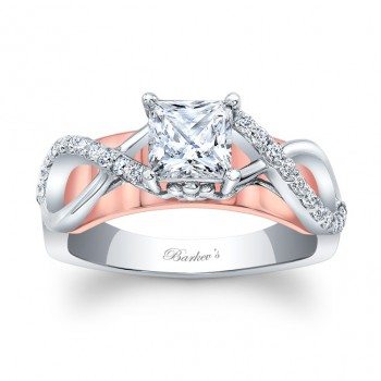 Barkev's Designer Princess Cut 2 Toned Engagement Ring with 0.20 ct in Round Diamonds 8018LTWRV
