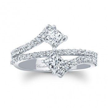 Barkev's Designer 2 Stone Unique Engagement Ring in 14KT White Gold 8034LW