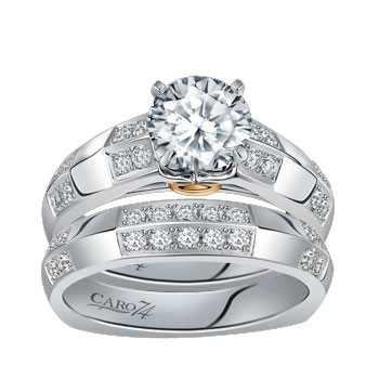 Caro74 14K White Gold Diamond Engagement Ring Setting CR149W
