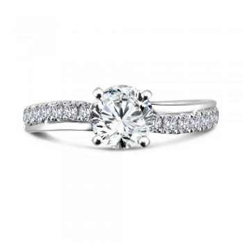 Caro74 Designer 14K White Gold Diamond Engagement Ring with 0.40 ct in round side diamonds CR161W